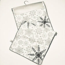 "Nicole Miller Silver & Gray Beaded Snowflake 72"" Cotton Table Runner ~ Gorgeous!"
