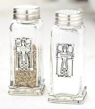 Religious Cross Salt and Pepper Shaker Set Dash of Faith Glass Metal Accents