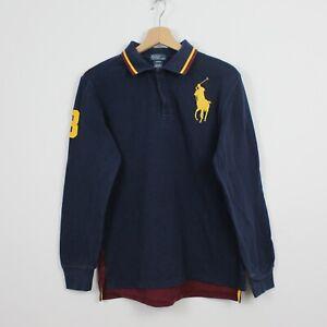 E53 Ralph Lauren Polo Women Blue Burgundy Long Sleeve Rugby Shirt Size 18-20 XL