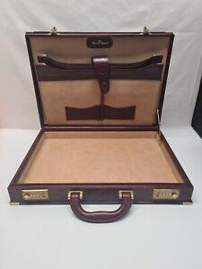 Antik Aktenkoffer Aktentasche Tasche Koffer Rot Braun Leder Etienne Aigner