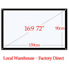 72'' 16:9 Portable Projector Screen Matte White for Backyard Camping Hd 3D Movie