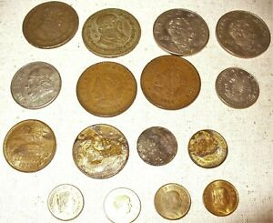 Mixed Lot of 15 Old Mexico Coins 1957-1973 Vintage Mexican !!