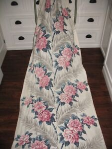 VTG LARGE SCALE PINK ROSE FLORAL SILVERY GRAY PALM FROND BARKCLOTH FABRIC DRAPE