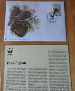 WWF Pink Pigeon Coin FDC With Info Card