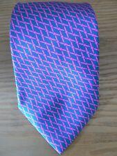 Nuevo sin etiquetas: Kent & Haste, Savile Row, violeta azul/magenta fular de seda Tie geométrica