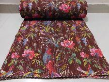 Indian Queen Kantha Quilt Bird Print Bed Cover Bedspread Blanket Throw Brown