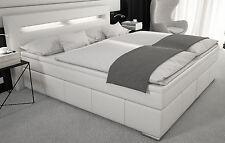 Boxspringbett 180x200 Doppelbett Designerbett Boxspring Bett Kunstleder LED Weiß