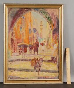 ALBERT HELWIG Orientalist Middle Eastern Arab City Donkey Watercolor Painting