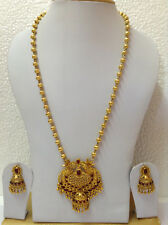 Bollywood fashion jewellery gold tone pearl  design necklace set & earring 21''L