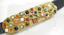 Vintage Accessocraft Nyc BeJeweled Multi cor Stones black leather belt & Buckle