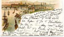 The Thames - LONDON - 1903 Original Used Postcard Clapham Postmark (96L)