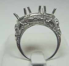 Antique Art Deco Setting Mounting Mount 14K White Gold Hold 5.75MM 2-5MM Sz 6.5