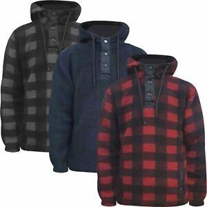 Mens Fleece Lined Fluffy Teddy Lumberjack Warm Hoodie Pullover Work Jumper