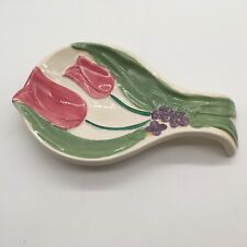 Vintage Treasure Craft Hand Painted Spoon Rest Flower Pattern