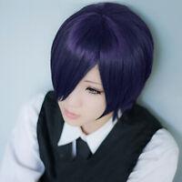 Tokyo Ghoul Kirishima Touka Wig Short Straight Hair Anime Cosplay Purple Mixed