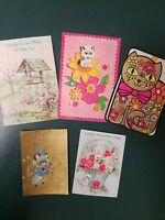 Vintage 1950s & 60s Cards Featuring Cats & Kittens, Lot Of 5    (#3)