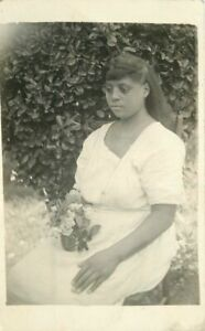 C-1910 Young Black Woman Roses RPPC Photo Postcard 21-2158