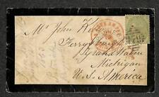 IRELAND ENGLAND SCOTT #42 PLATE 1 STAMP TO MICHIGAN USA MOURNING COVER 1863
