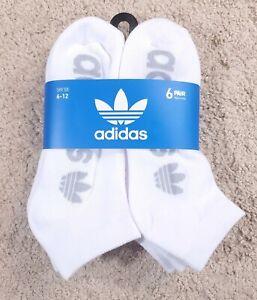 ADIDAS Mens Moisture Wicking Low Cut Socks White Gray Logo 6 Pack Shoe Size 6-12