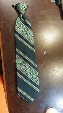 Vintage Wembley Clip On Green Yellow Stripe Wide Lds Necktie Free Shipping