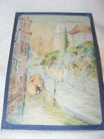 ANTIQUE WATERCOLOUR PAINTING OF VENICE BY FRED H TAYLOR 1926 CANAL BUILDINGS
