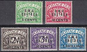 BOIC: BMA Eritrea 1948 SG ED1 - 5 Sc J1 - J5, Postage Due, MM