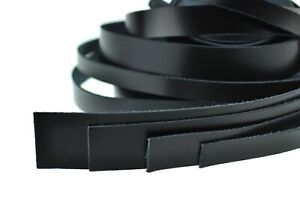 Lederband Flach 1 Meter. Dicke 1,8 mm. Lederriemen. Schwarz. verschiedene Breite