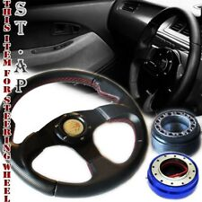 Mustang Type-R 320Mm Steering Wheel Black/Blk+Hub Adapter+Short Quick Release Bl