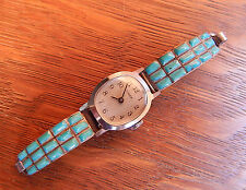 Navajo Sterling Silver Turquoise Watch Band Tips Bracelet Wind Up Timex Works