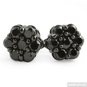 Black Cubic Zirconia Onyx Large Cluster Stud Earrings