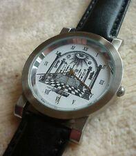 Armbanduhr Zifferblatt mit Freimaurer Motiv - Ronda schweizer Quarzuhrwerk - 19