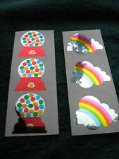 >> Lot 6 Vintage 80s Hambly Foil Mylar Stickers Gumball Machine Rainbow Clouds &