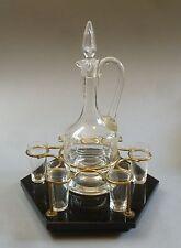 Jugendstil Likörset Glas Karaffe Tablett 6 Gläser schwarzes Glastablett um 1900