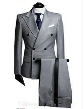 Double-breasted peak lapels Lateral ventilation and light grey the groom's best