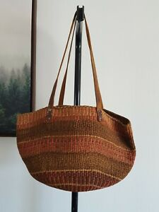 Vintage Woven Jute Fiber Straw Leather Market Shop Bag Tote Handbag Purse 18Х11
