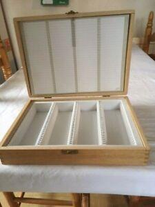 VINTAGE WOODEN  SLIDE STORAGE BOX - HOLDS 124 35mm SLIDES