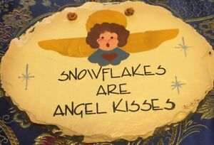 Hand Painted SLATE Wall Hanging PLAIN JANE Snowflakes are angel kisses