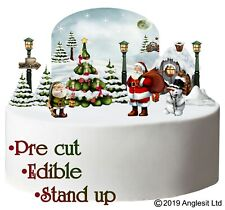 I. Pre-Cut Edible Stand up Christmas Cake Set Wafer Winter Season Decorations