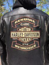 Harley Davidson ROCKER  3N1 Leather Jacket Men's 3XL Black w/ Hoodie