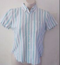 American Apparel Short Sleeves Buttons Down Striped Cotton Shirt ~ Size XXS