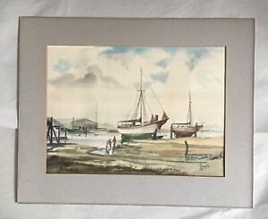 J F Ludgate  - Yachts at Low Tide - Watercolour