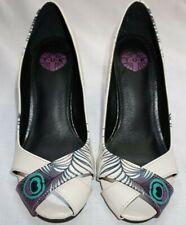 Women's Peep Toe Peacock TUK Rockabilly Pin Up Heels Shoes Sz 5