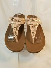 Women's FitFlops L85-137 Nude Wedge Thong Sandals Shoes US 5 M / EU 36