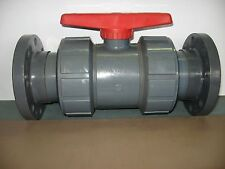 "ASAHI 4"" TRUE UNION BALL VALVE FLANGED PVC TYPE 21/21A NSF-61 FKM SEALS 150 PSI"