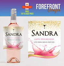 Personalised Rose wine bottle label, Perfect Birthday/Wedding/Graduation Gift