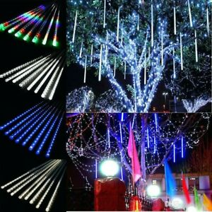 Outdoor Christmas LED Meteor Shower Star Lights Falling Rain Icicle Party Tree