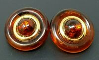 Vintage Napier Amber Lucite Gold tone Round Pierced Earrings