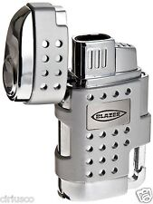 Blazer EVO Twin Torch Flame Butane Lighter with Retractable Cigar Punch – Silver