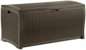 Suncast Mocha Wicker Resin Patio Deck Outdoor Storage Box 73 Or 99-Gallon