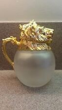 VINTAGE CAROL STUPELL LION HEAD FROSTED GLASS PITCHER MID CENTURY